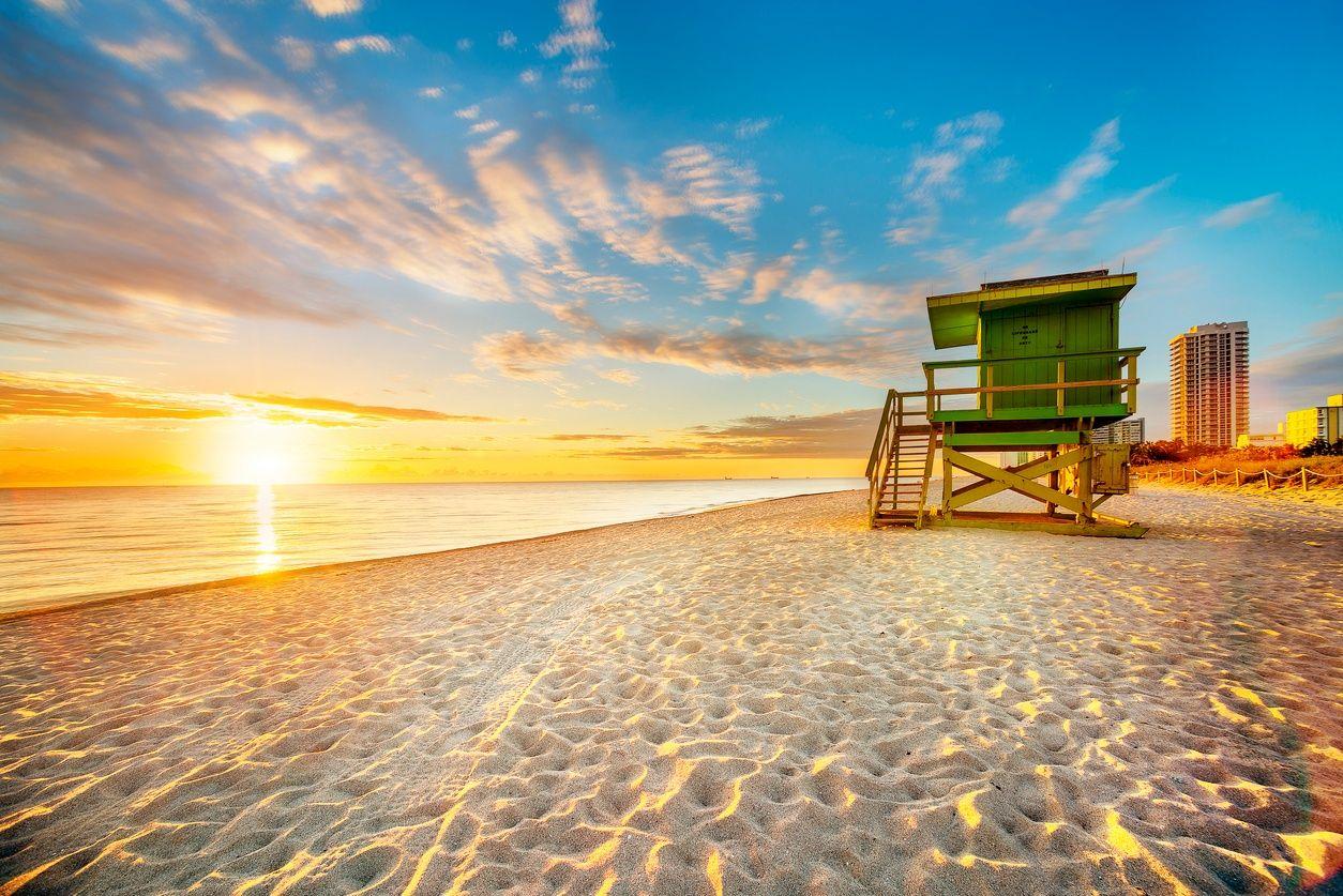 South Beach, Miami gün batımında
