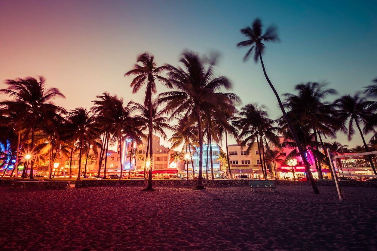 South Beach, Miami gece hayatı bir görüntü